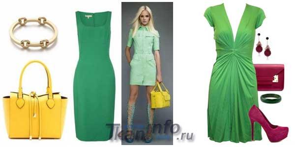 Контрастные аксессуары под зеленое платье