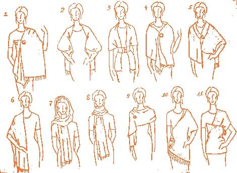 Схема 2 – Как носить палантин