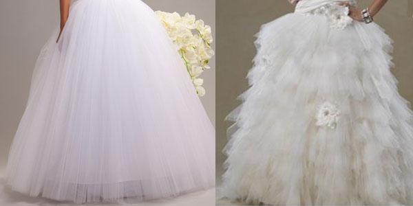 Юбки свадебного платья из фатина