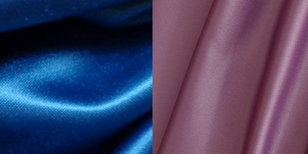 Синий и розовый материал сатен