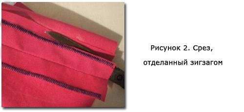 Рисунок 2. Срез, отделанный зигзагом